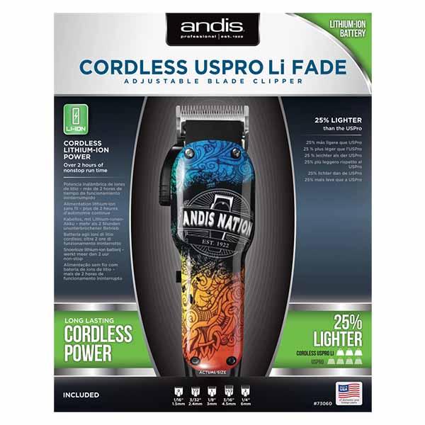 Аккумуляторно-сетевая машинка для стрижки волос Andis Cordless Uspro Li Fade 73060