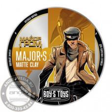 Глина для укладки волос высокой фиксации с низким уровнем блеска Boy's Toys Major's Matte Clay 100 мл BT507