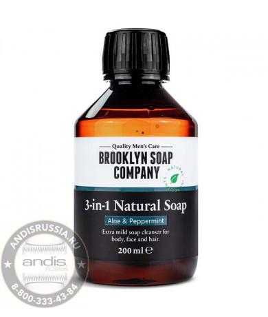 Шампунь + гель для умывания + гель для душа 3в1 Brooklyn Soap Company 3-in-1 Natural Soap 200 мл B106