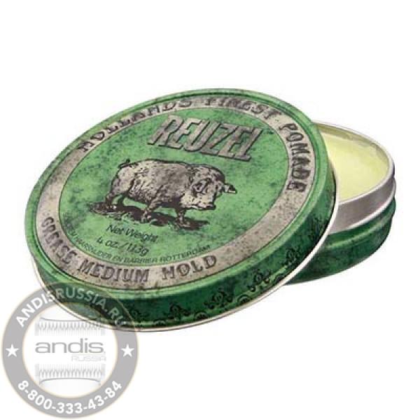 Помада средней фиксации Зеленая Reuzel Grease Medium Hold Green Pomade Pig 113 гр REU002