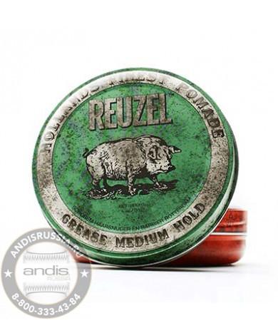 Помада средней фиксации Зеленая Reuzel Grease Medium Hold Green Pomade Piglet 35 гр REU006