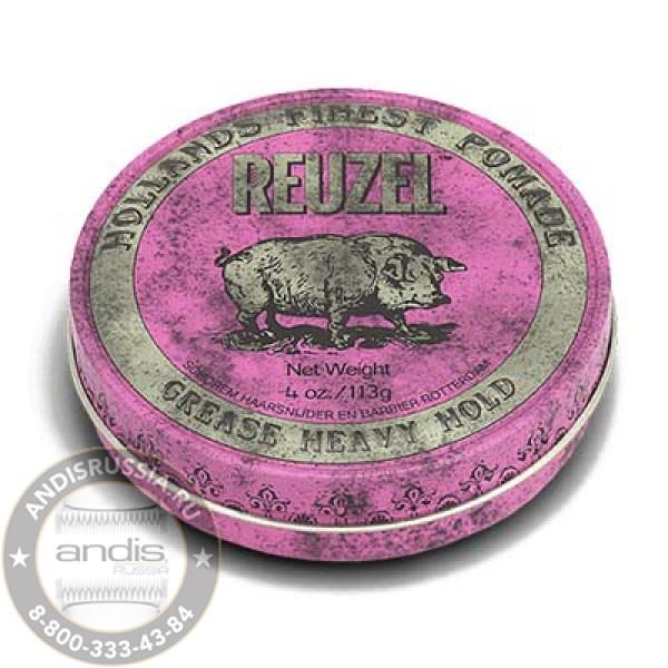 Помада сильной фиксации Розовая Reuzel Grease Heavy Hold Pink Pomade Pig 113 гр REU003