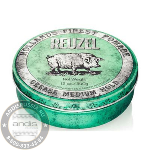 Помада средней фиксации Зеленая Reuzel Grease Medium Hold Green Pomade Hog 340 гр REU007