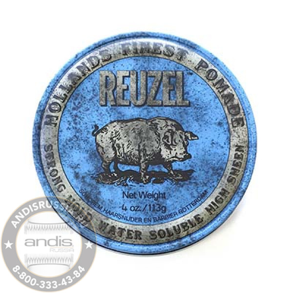 Помада сильной фиксации Синяя Reuzel Water Soluble Strong Hold Blue Pomade Pig 113 гр REU011