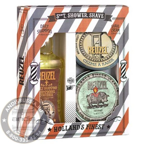 Набор Шампунь + Крем для бритья + Свеча Reuzel Holiday S..t, Shower, Shave SSSHOLIDAY-1